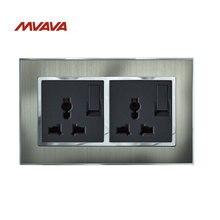 Mvava 6 Pin Switched Plug двойная многофункциональная розетка питания двойная настенная розетка с переключателем Серебристая атласная металлическая розетка EU UK US