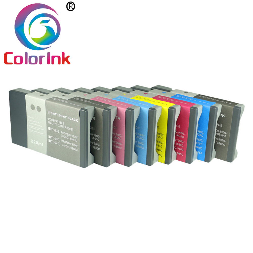ColoInk 10pack <font><b>7800</b></font> 9800 7880 9880 ink <font><b>cartridge</b></font> for <font><b>Epson</b></font> T5631 T6041 ink <font><b>cartridge</b></font> <font><b>7800</b></font> 9800 7880 9880 WITH pigment INK 220ML image