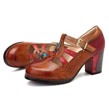 SOCOFY Elegance Vintage Hollow Out Chunky Heel Leather Pumps Stitching Weave Hook Loop Retro Shoes Women  Bohemian Pumps New 3