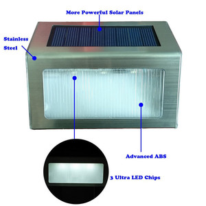 Image 5 - 4PCS Stainless Steel 3LED Solar Wall Lamp Outdoor Waterproof Solar Power Garden Fence Light Courtyard Pathway Fence Wall Light