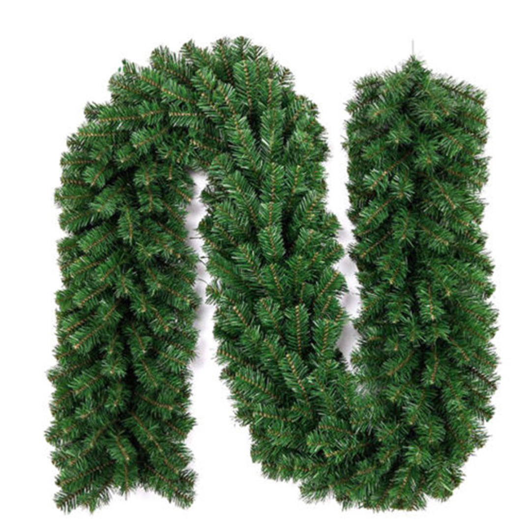 Christmas Pine Garland.Us 9 98 22 Off Pvc Long Green Christmas Pine Garland Wreath Ornament Xmas Fireplace Tree Decor In Artificial Dried Flowers From Home Garden On