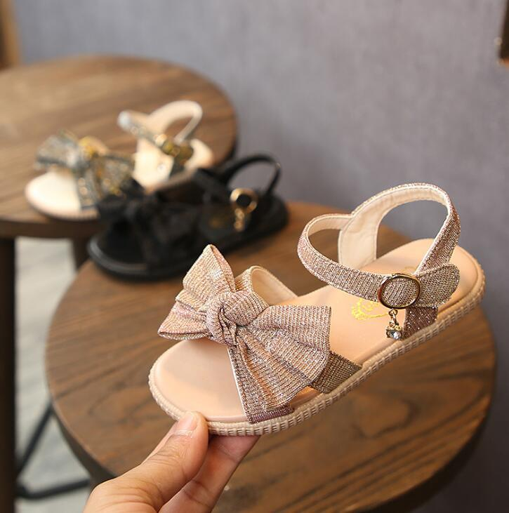 New Summer Sandals For Girls Baby Bow Beach Sandals Toddler Kids Bow Casual Single Dress Shoes Pink Black Gold