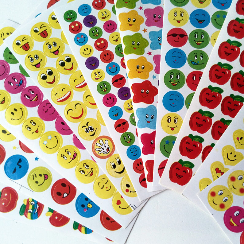 Happyxuan 10 Packs(100 Sheets) Paper School Rewards Stickers For Teachers Smile Face Stars Kindergarten Kids Children Scrapbook
