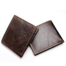 2019New Small Vintage Wallet Brand High Quality Vintage Designer 100% Genuine Crazy Horse Cowhide Leather Men Short