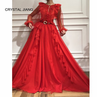 New Arrival 2018 O Neck Red Evening Gown Abiye gece elbisesi Custom made Long Sleeves Formal Ruffles Evening Dresses Long