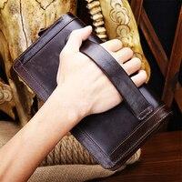 Genuine Leather Men Wallet New Man's Wallet Double Zipper Men Purse Fashion Male Long Wallet Leather Man's Clutch Bag Genuine