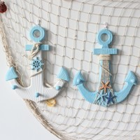 Mediterranean Style Wood Anchor Fishing Net Nautical Decor Wall Hanging Art Crafts Hanging Hook Vintage Home Office Decor