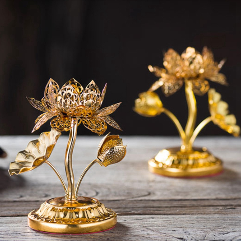Golden Silk Hollow Lotus Candle Ghee Lamp Holder For The Buddha Candle Holder Candlestick Butter Lamp Holder Buddhist in Candle Holders from Home Garden