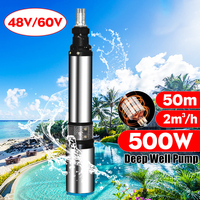 Solar Water Pump 48/60V 500W 2000L/h 50m Deep Well Pump DC Screw Submersible Pump Irrigation Garden Home Agricultural