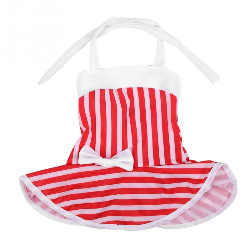 Cute Baby Girls Red And White Striped Bow Tie One Piece