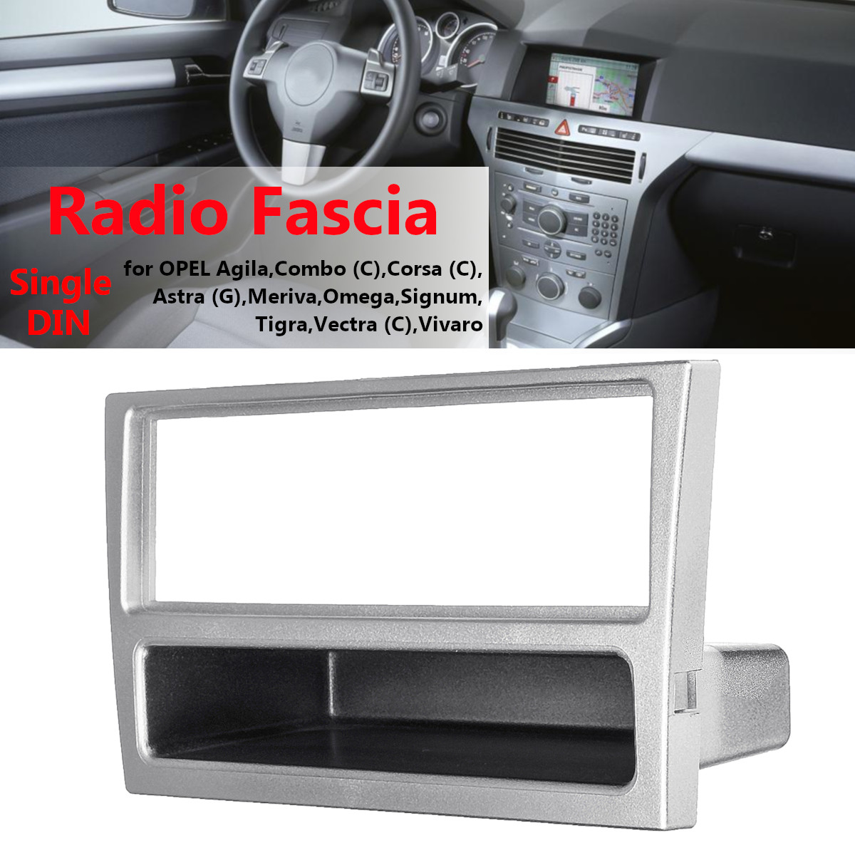 1 Din Car Stereo Radio Fascia Panel Plate Frame for OPEL Agila Tigra Astra 2004-2009 Dashboard Panel DVD Player image