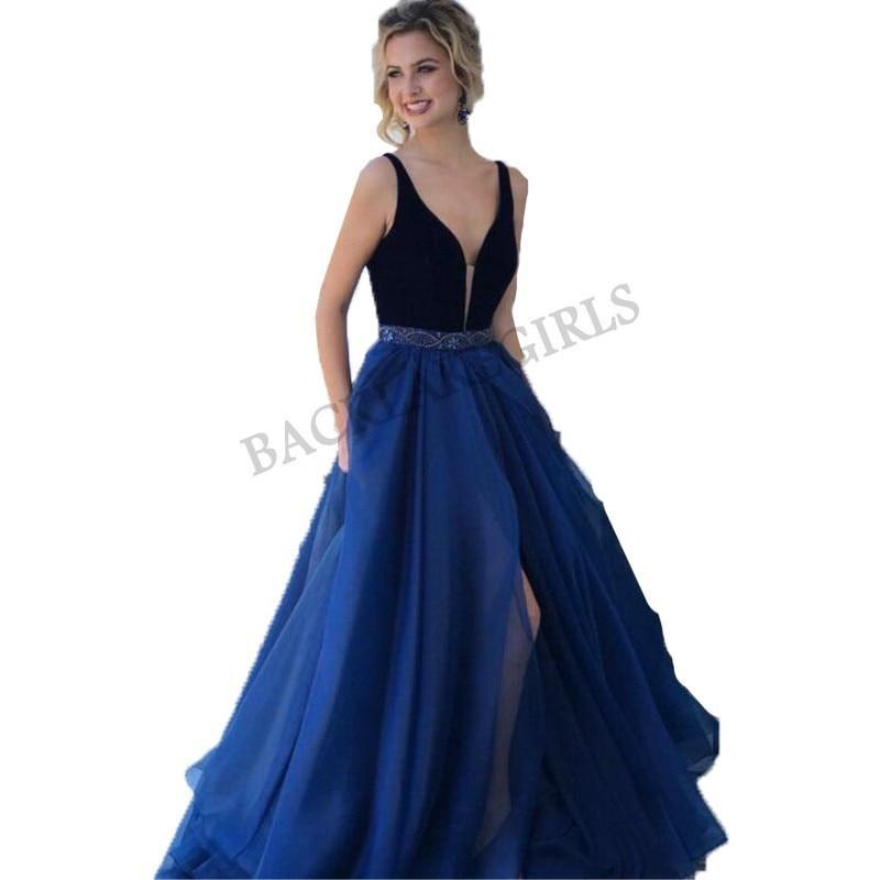 Us 1710 Elegant A Line Prom Dresses Long Vestidos Gala 2019 Beaded Sash Dark Blue Evening Dress V Neck Sleeveless In Prom Dresses From Weddings