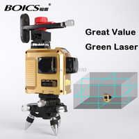 Free shipping BOICS 12 Lines 3D Laser Level Self Leveling 360 Rotary Cross Line laser tape measure floor leveler nivel