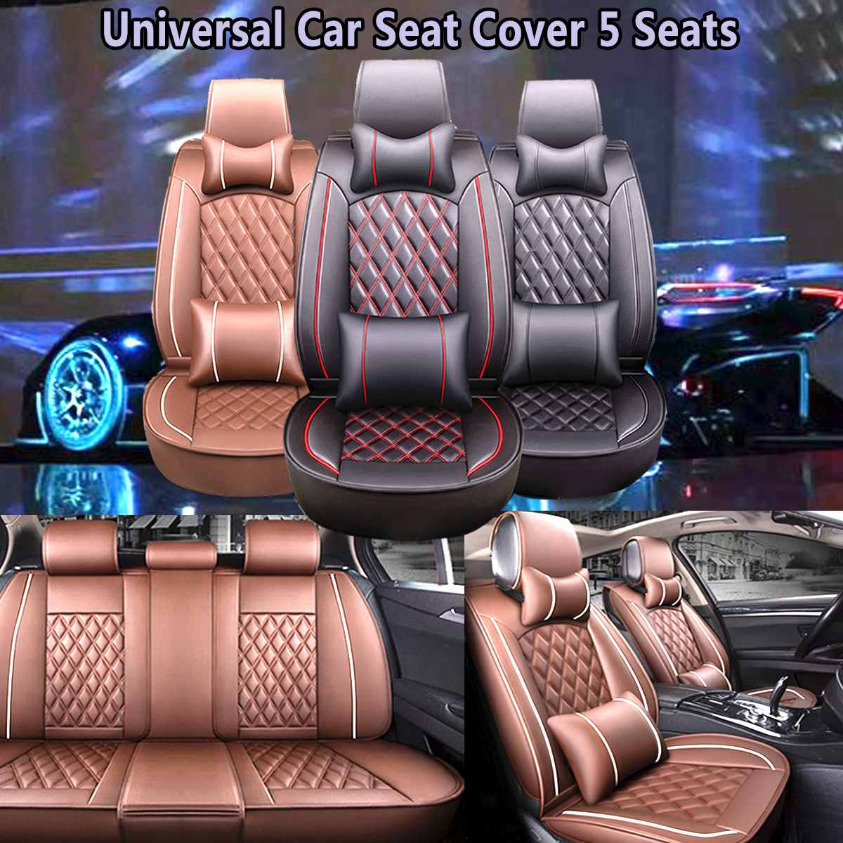 Universal Car Seat Covers Leather Cotton Seat Cushion Protection Front Rear For Honda/VW/ToyotaUniversal Car Seat Covers Leather Cotton Seat Cushion Protection Front Rear For Honda/VW/Toyota