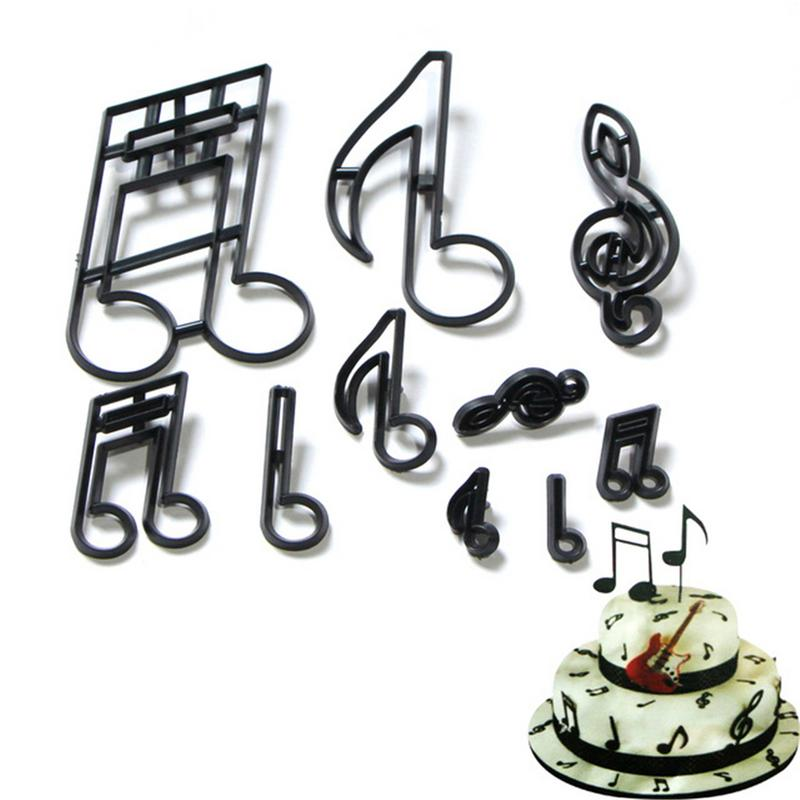 10PCS Baking Embossing Mould Music Symbol Theme Cookie