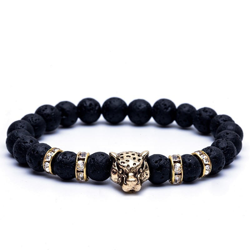 8mm Natural Stone Lava Stone Bead Strand Bracelet For Men Male's Leopard Pendant Panther Head Charms Bracelet Jewelry On Hand