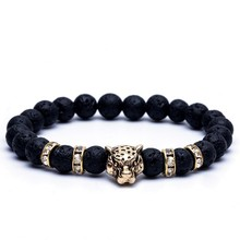 Strand Bracelet Stone-Bead Panther-Head Lava Jewelry Hand Natural-Stone Male's for Men