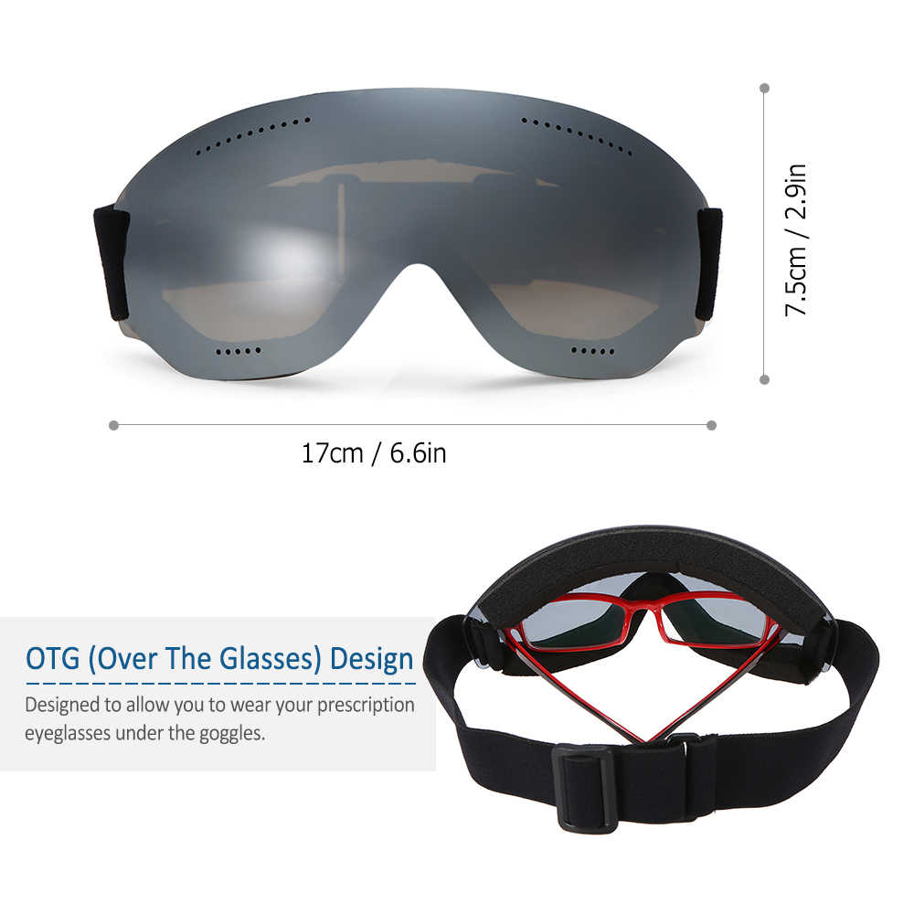 b60e6f7341 ... Men Women Snow Skiing Goggles UV400 Protective Anti-fog Ski Goggles OTG  Climbing Skating Glasses