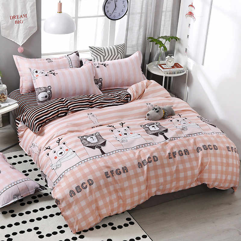 4pcs/set Kawaii Cartoon Style Bear Printing Comfortable Family Bedding Set Bed Linings Duvet Cover Bed Sheet Pillowcases 51
