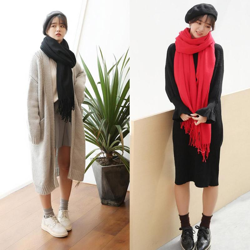Fashion 2019 new autumn winter scarves for women shawls and wraps lady Casual Cashmere Tassel Scarf head scarf hijabs stoles
