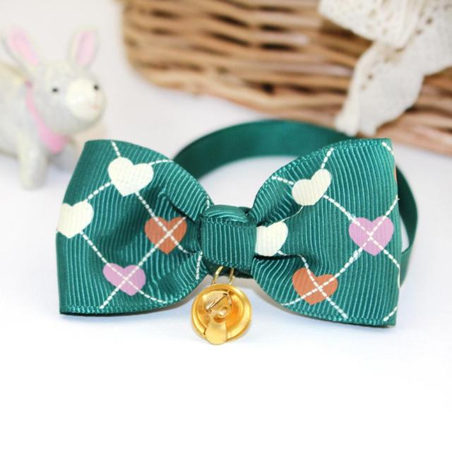 Cute Adjustable Collar Print Necklace Bell Dog Pets Puppy Bownot Bowtie Cats Dogs Heart Cute Bow Tie