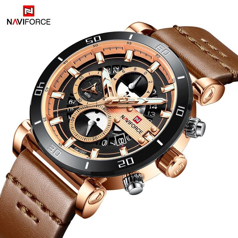 NAVIFORCE Mens Sports Watches Top Brand Luxury Waterproof Stop Watch Date Quartz Watch Leather Wrist Watch Men Waterproof Clock цена и фото