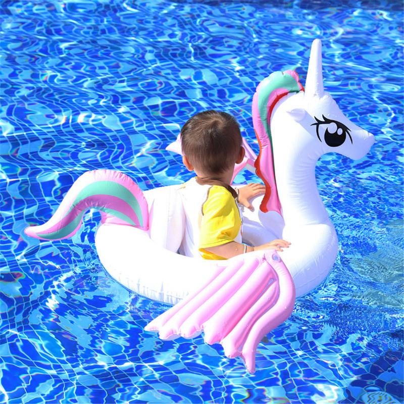 Children's Swimming Ring Inflatable Cartoon Pegasus Color Wing Hot Spring Lifebuoy Seat Boat Float Harmless PVC Plastic Water To