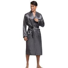 Hot Sale Gray Men Kimono Nightwear Satin Robe Pyjamas Room Home Clothes Bathrobe Long Sleeve Satin
