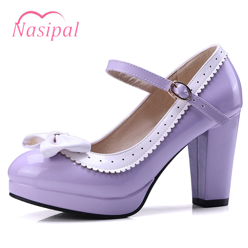 Nasipal Women Pumps Sweet Bow Knot Lolita Shoes Woman Chunky High Heels Round Toe Platform Patent Leather Women's Shoes V304