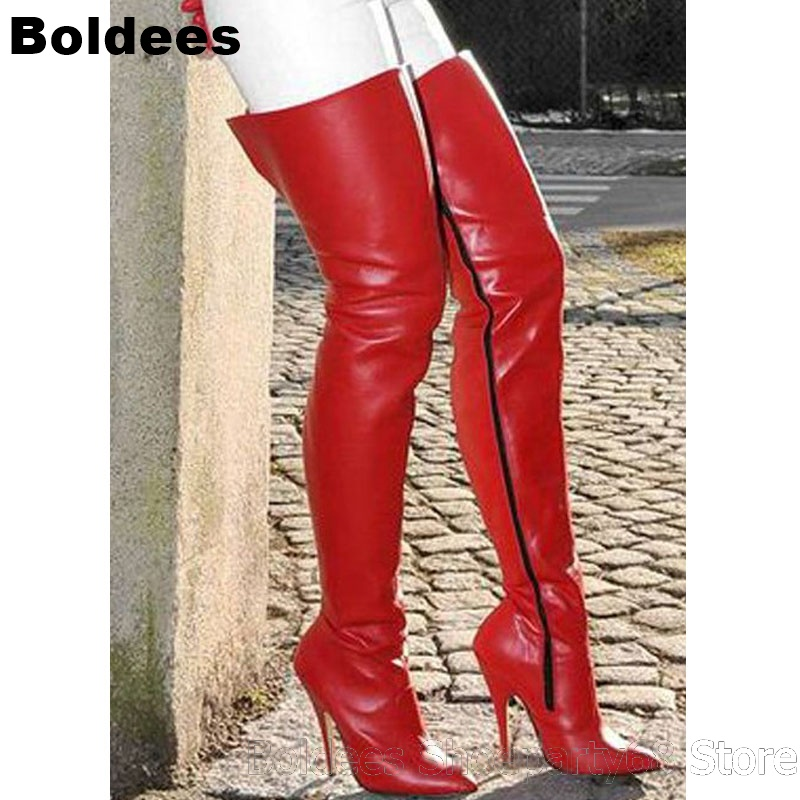 Red Mat Leather High Heel Winter Boots Women Over The Knee Boot High Heels Fashion Ladies Thigh High Stiletto Long Zip BotasRed Mat Leather High Heel Winter Boots Women Over The Knee Boot High Heels Fashion Ladies Thigh High Stiletto Long Zip Botas