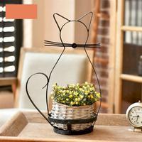 WINOMO Cat Shape Iron Shelving for Flower Basket Garden Planter Standing Structure Modern Brief Metal Decorations