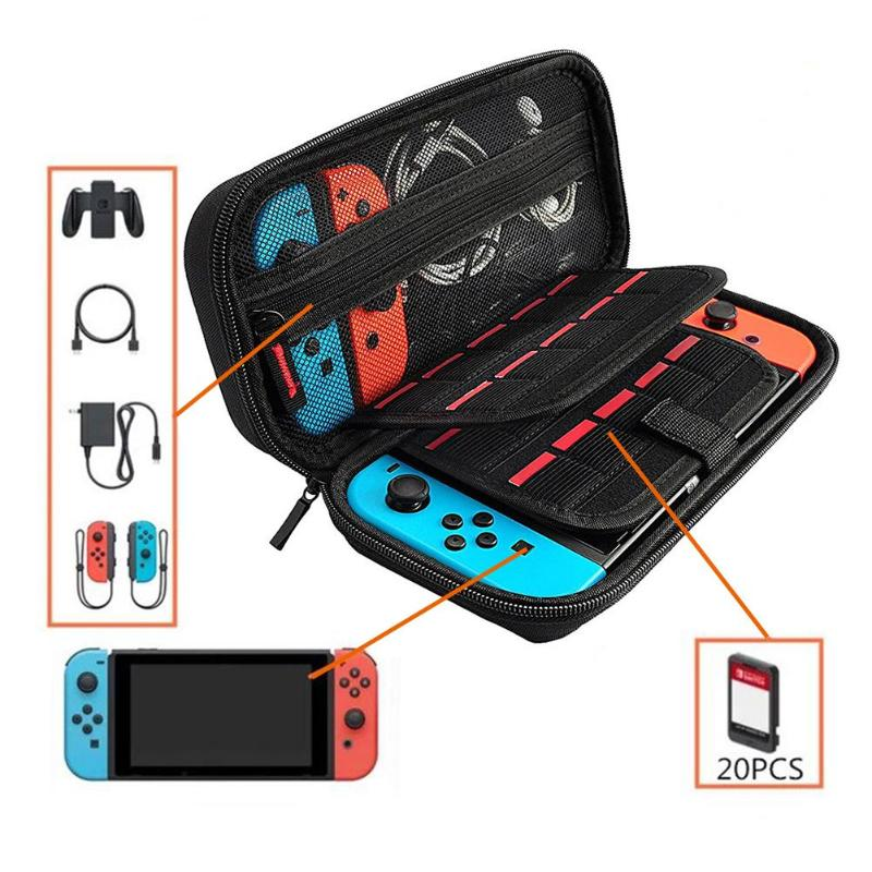 EVA Hard Storage Bag Portable Dual Interlayer Game Card Holder Carrying Protective Case Pouch for Nintend Switch Console Case