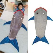 Одеяло с рисунком акулы; спальный мешок с рыбьим хвостом из флиса; сезон осень-зима; утепленное теплое спальное одеяло с милым рисунком; стеганое одеяло; праздничный подарок для детей