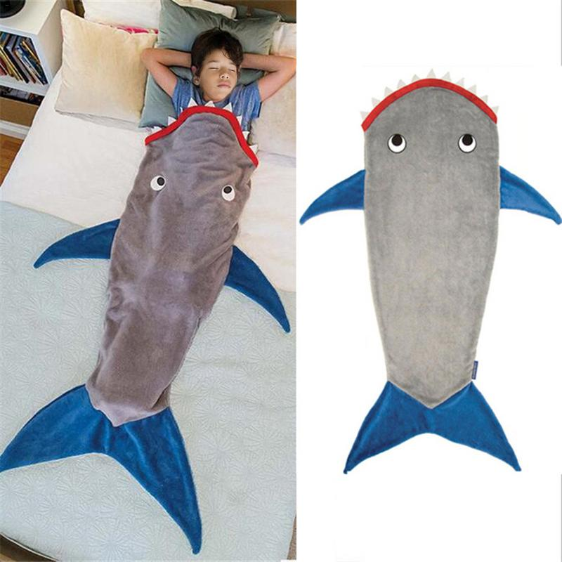 Shark Blanket Fish Tail Sleeping Bag Fleece Autumn Winter Thicken Warm Sleeping Blanket Cute Cartoon Quilt Kids Festival Gift