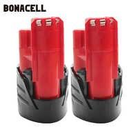 Bonacell 12V 2000mAh LI-ION battery Rechargeable Power Tool Battery For Milwaukee M12 48-11-2401 48-11-2440 L50