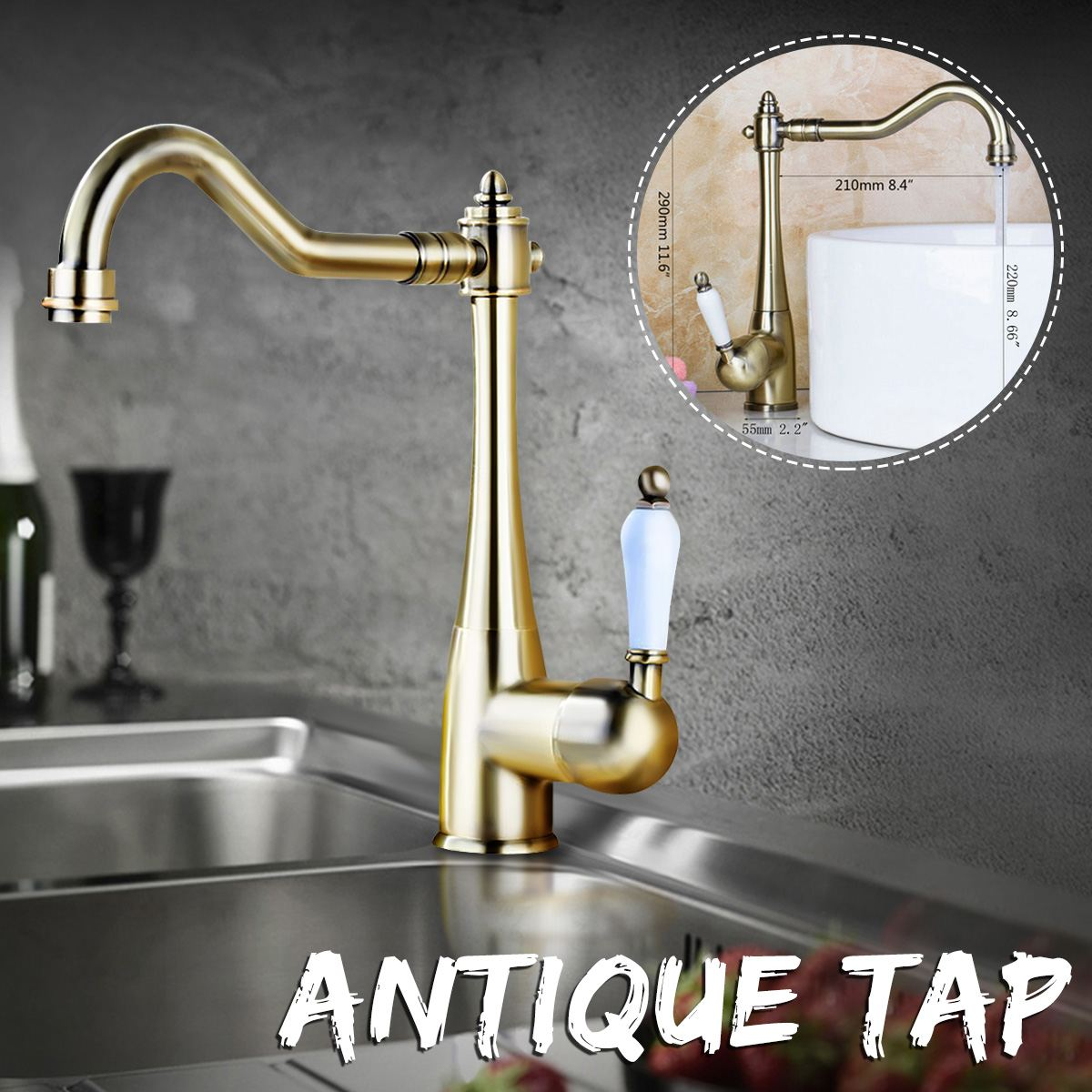 Xueqin Antique cuivre salle de bain bassin robinet monté sur le pont mitigeur classique robinet salle de bains évier robinet eau chaude et froide