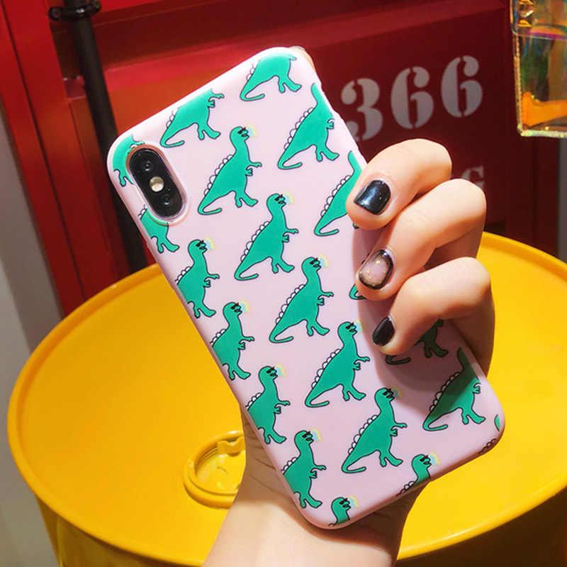 Ottwn ديناصور حقيبة لهاتف أي فون 7 6 6S 8 زائد 11 برو ماكس X XR XS ماكس جراب هاتف الحب القلب لطيف الكرتون القط لينة TPU الغطاء الخلفي