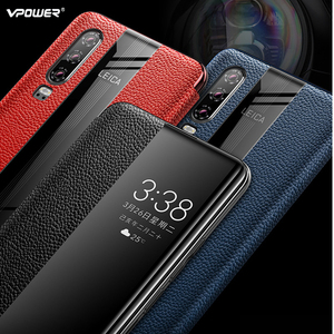 Image 2 - Huawei P30 Pro Genuine Leather Case Vpower Luxury Smart View Window Leather Flip Cases For Huawei P30 / P30 Pro Phone Covers