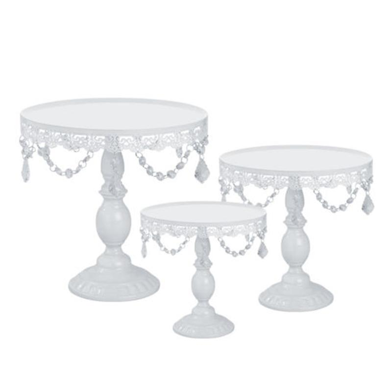 1 Set of 3 Iron Crystal Stand Wedding Stand Cake Stand Round Wedding Birthday Party Dessert Cupcake Pedestal Display Plate