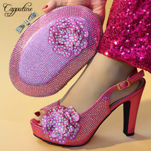 Capputine 2019 Nigeria Style Wedding Shoes And Bag Set Afircan Ladies Pumps Shoes With Matching Bag Set For Party On Stock