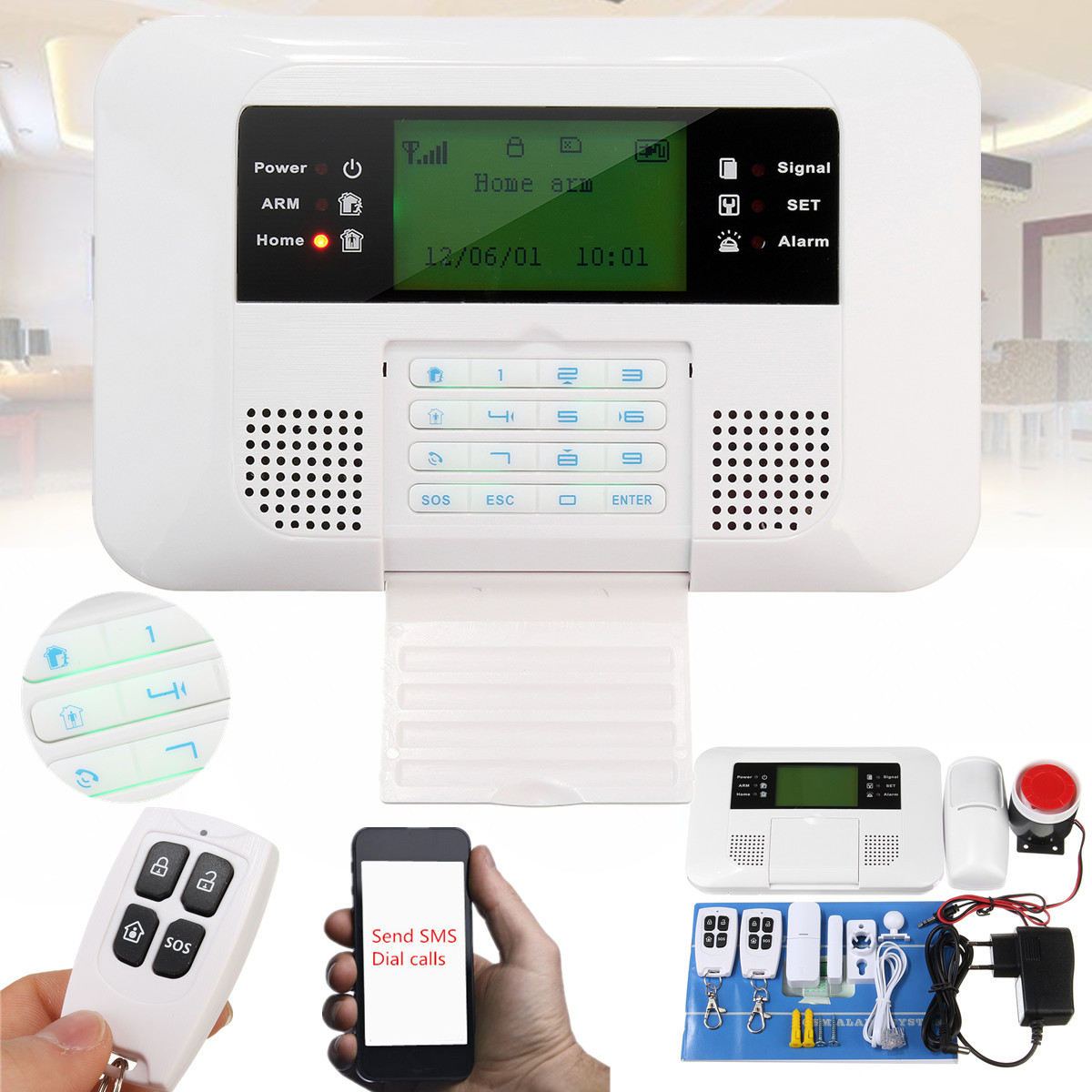APP Control Wireless Home Security GSM Alarm System Intercom Remote Control Autodial Siren Sensor KitAPP Control Wireless Home Security GSM Alarm System Intercom Remote Control Autodial Siren Sensor Kit
