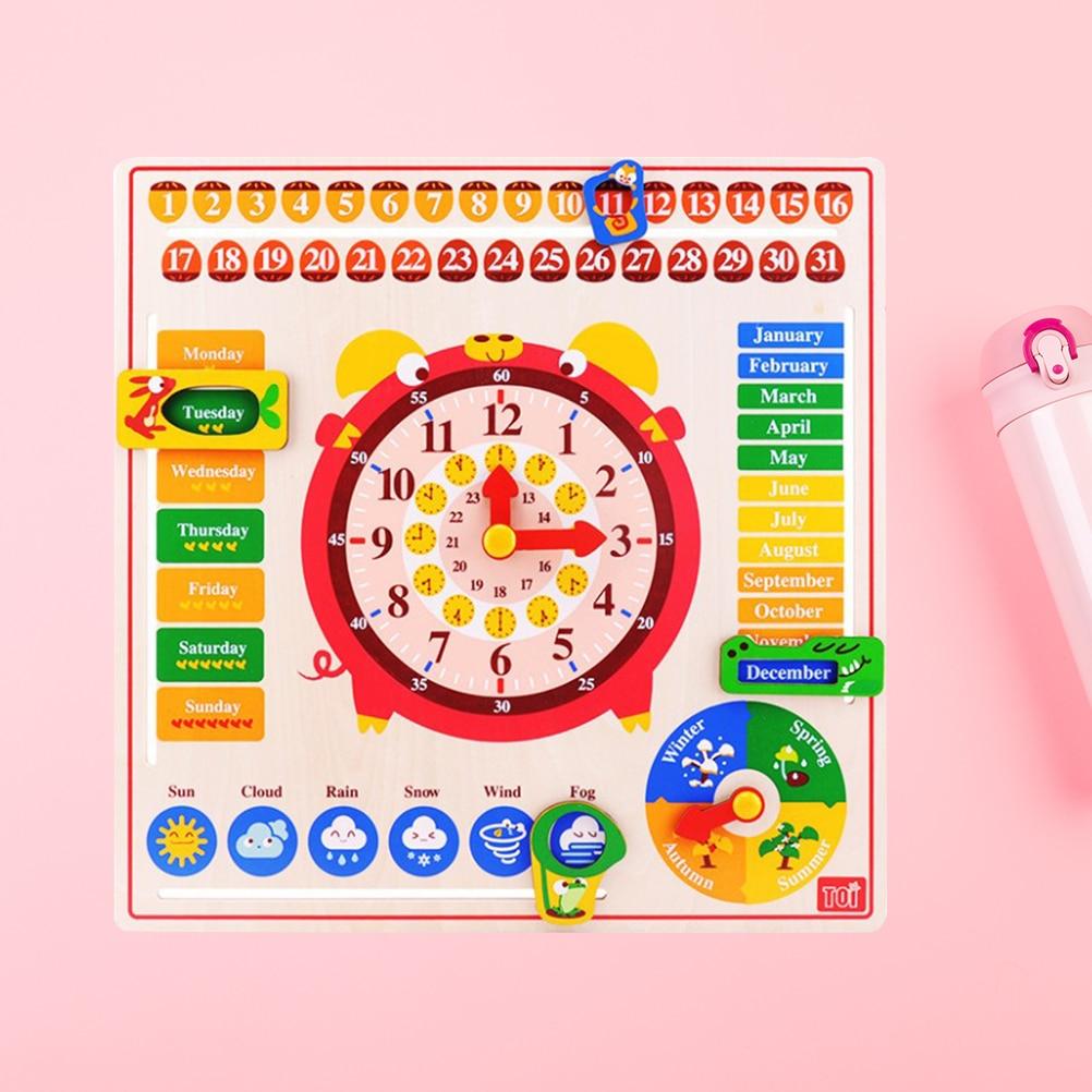 1 pc bois créatif mignon calendrier horloge jouet bébé horloge jouet cognitif pour nouveau-né infantile calendrier & temps jouets