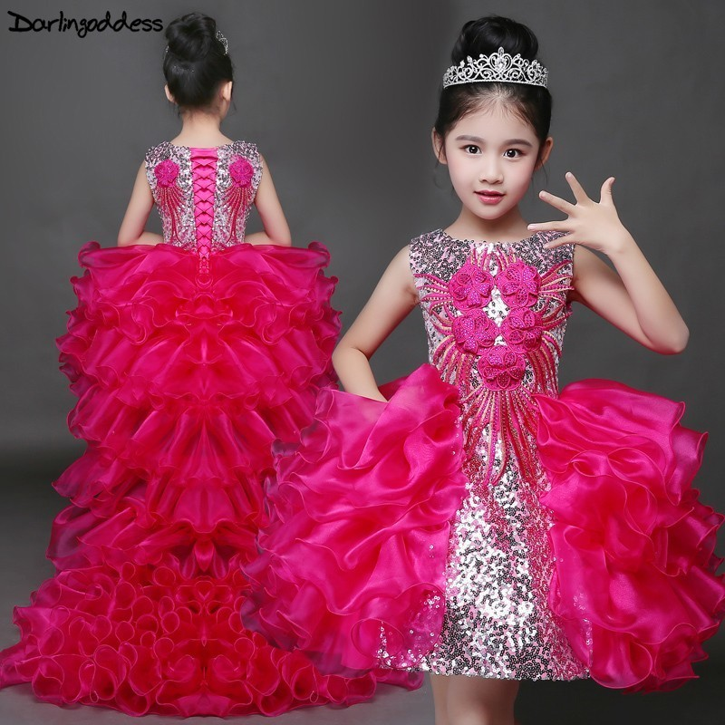 Luxury Puffy Ball Gown   Flower     Girl     Dresses   for Weddings High Low Pageant   Dresses   for   Girls   Kids First Communion   Dresses   2019