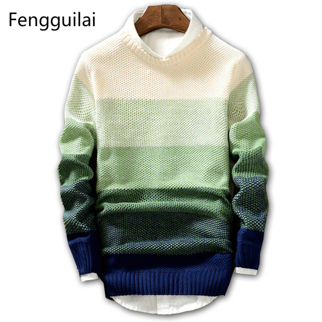2018 New Spring and Autumn Fashion Casual Sweater O-Neck Slim Fit Knitting Mens Sweaters And Pullovers Men Pullover Men XXL