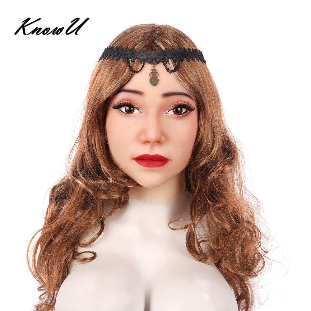 KnowU Female Mask Halloween Headwear Crossdressers Halloween Silicone Realistic masque f minin mascara