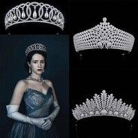 Royal Luxury Zircon & Crystal Tiaras Cubic Zirconia Diadema Wedding Party Vintage Queen Tiaras and Bride Pageant Crowns Princess