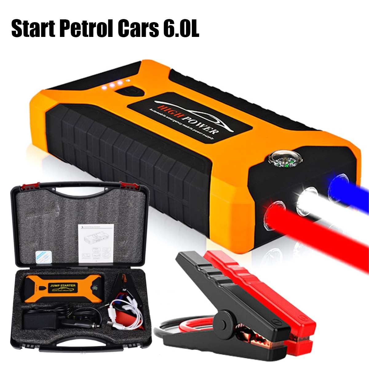 High Capacity 88000mAh Car Jump Starter Power Bank 600A Car Battery Charger Booster Charger 4USB 12V SOS Starting Device multifunction jump starter 89800mah 12v 4usb 600a portable car battery booster charger booster power bank starting device