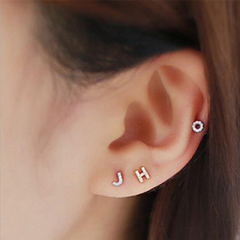 Initial Stud Earrings 925 Sterling  Zircon Crystal Alphabet Monogram Post Earrings Simple Women Dainty Jewelry Gifts 1pcs