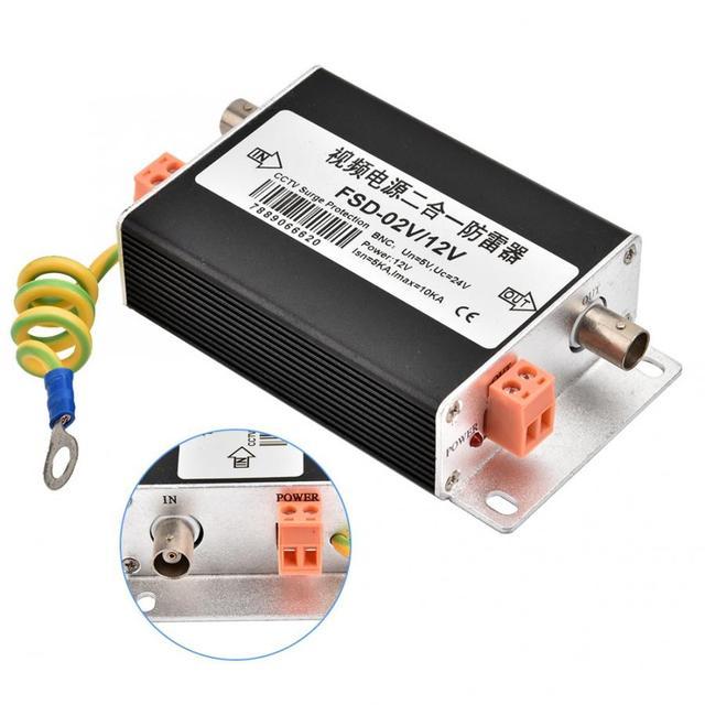 2 w 1 sieciowy ogranicznik pioruna BNC + DC wydajność wideo zasilanie ochrona przeciwprzepięciowa 12V
