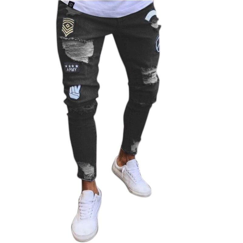 Moda de la calle desgaste de los hombres pantalones vaqueros de tendencia de la rodilla agujero vaqueros pantalones vaqueros bordados hombre elástico Skinny pantalones de lápiz